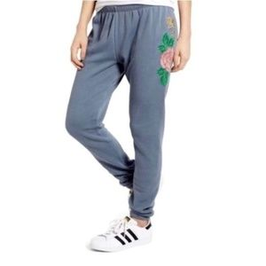 Wildfox Knox Pants Indigo Rose Embroidered Size L
